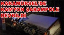 Meşrubat Yüklü Kamyon Şarampole Devrildi