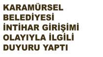 Karamürsel Belediyesi İntihar Girişimi İle İlgili Duyuru Yaptı